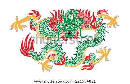 green chinese dragon - stock vector