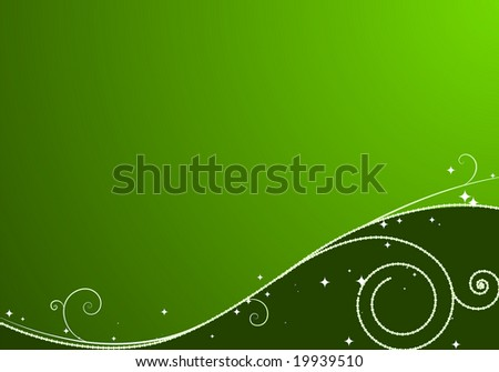 Green Christmas background: composition of curved lines and snowflakes - great for backgrounds, or layering over other images - stock vector
