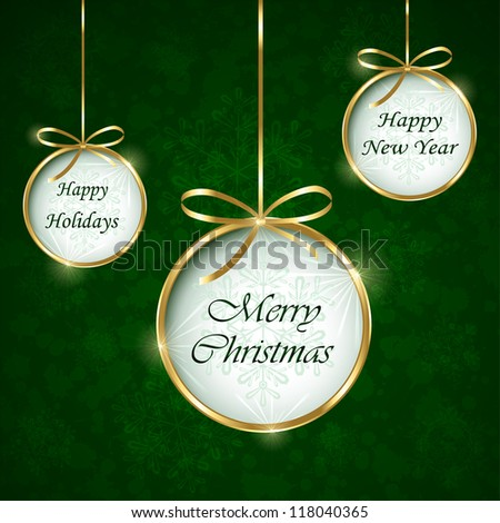 Green Christmas background with bauble, illustration. - stock vector