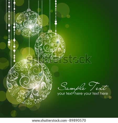 Green Christmas Background with Christmas ornaments - stock vector