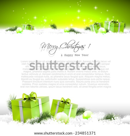 Green Christmas background with gift boxes and branches in snow and with place for text - stock vector
