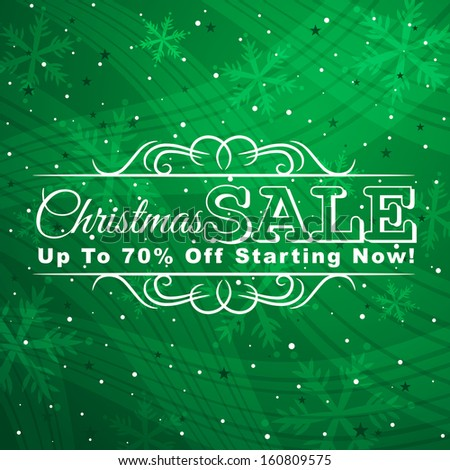 green christmas background with label for sale, vector illustration - stock vector