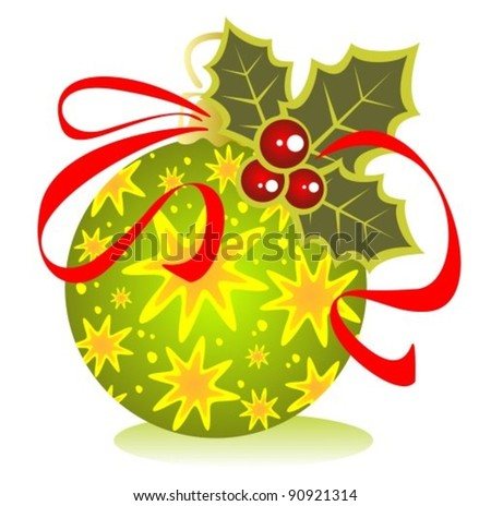 Green Christmas ball with ribbon isolated on a white background. - stock vector