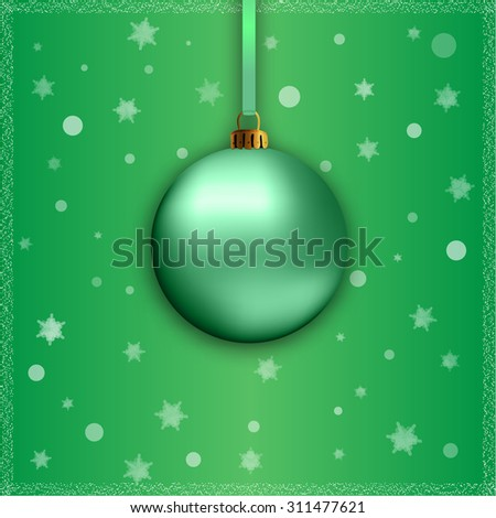 green christmas ball with ribbon on green background - stock vector