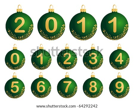 Green Christmas Balls with numerals 0-9 - stock vector