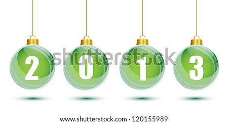 Green christmas balls with the numbers of new year 2013 - stock vector
