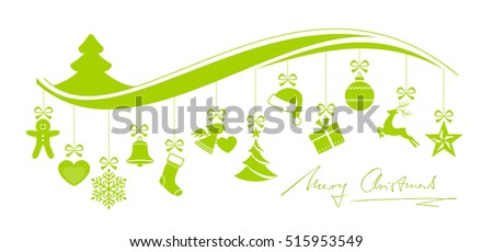 Green Christmas border with a set of 12 hanging Christmas ornaments on a wave pattern with hand written Merry Christmas underneath isolated on white.
