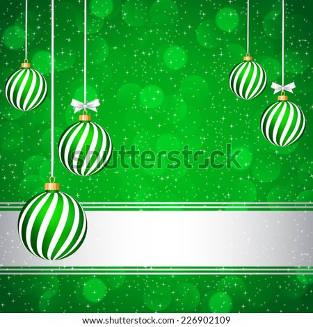 Green Christmas card with Christmas balls. - stock vector