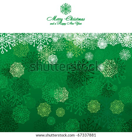 Green Christmas card with snowflakes, vector illustration - stock vector