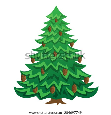 Green Christmas cartoon tree with brown cones - stock vector