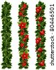 Green Christmas garlands of holly - stock photo