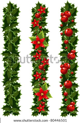 Green Christmas garlands of holly - stock vector