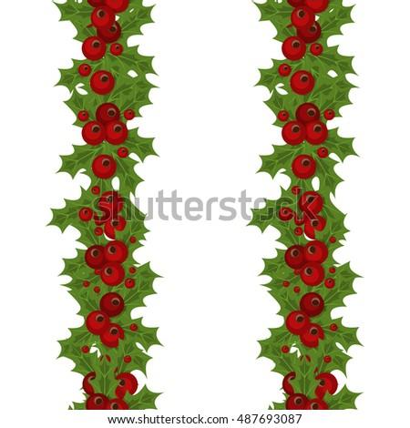 Green Christmas Garlands Holly Mistletoe Horizontal Stock Vector Hd Rh Shutterstock Com Tree Garland Clip