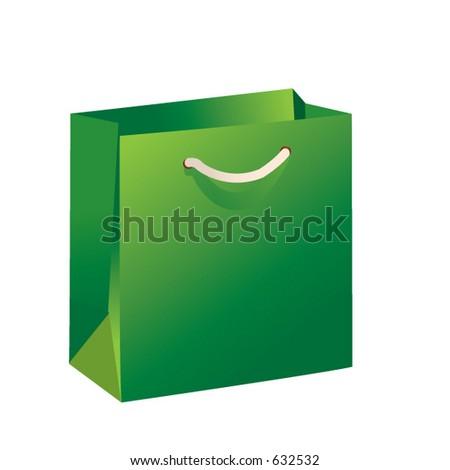 Green Christmas Shopping bag - stock vector