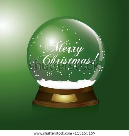 green christmas snow globe, merry christmas. vector illustration - stock vector