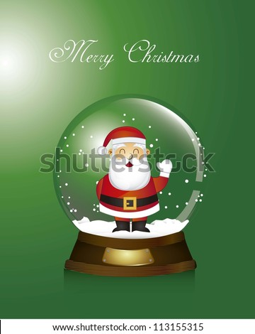 green christmas snow globe with santa claus. vector illustration - stock vector
