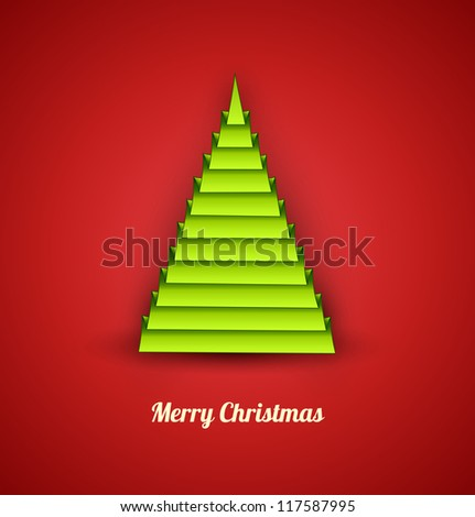 Green christmas tree in a geometric style on red background. Concept card. Vector Illustration.