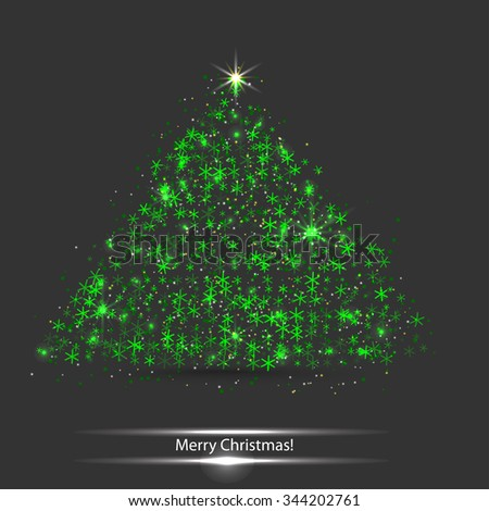 green christmas tree on dark background - stock vector