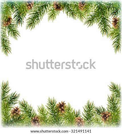 Green Christmas Tree Pine Branches with Pinecones Like Frame with Snowfall on White Background - stock vector