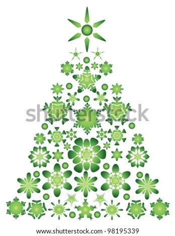green christmas tree - vector illustration - stock vector