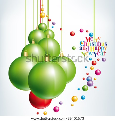 Green Christmas Tree with Christmas balls on white background - stock vector