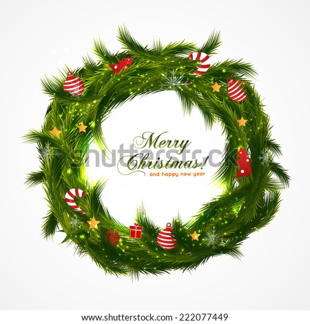 Green christmas wreath with decorations isolated on white background - stock vector
