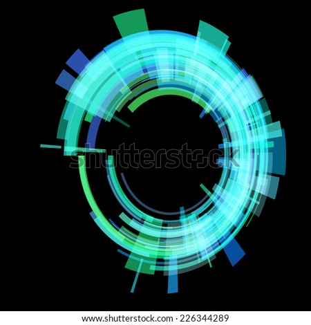 Green circle at an angle. vector - stock vector