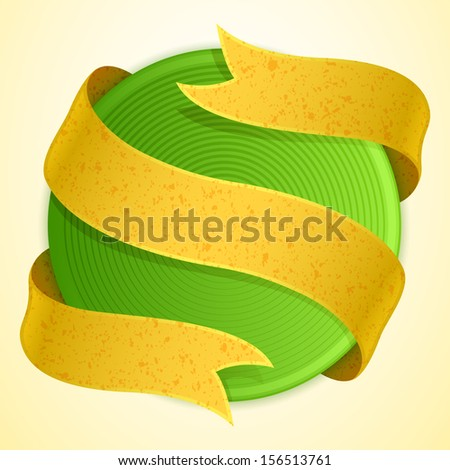 green circle banner with paper ribbon - stock vector