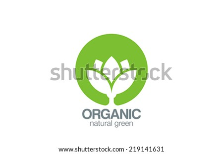 Green Circle Flower logo design vector template. Organic logotype creative concept. Eco farm idea ecology icon. - stock vector