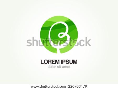 Green circle hand-drawn tree, vector logo design template. Garden or ecology icon.  - stock vector