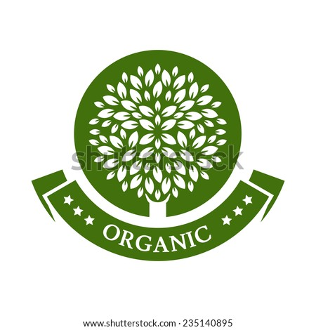 Green circle tree, vector logo design template. Organic product badge. Garden or ecology icon.  - stock vector