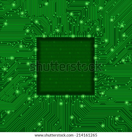 green circuit board frame - stock vector