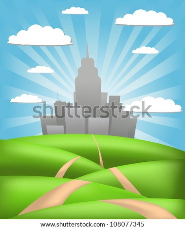 Green city background - stock vector