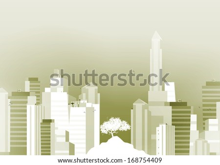 Green City Background - Vector Illustration - stock vector
