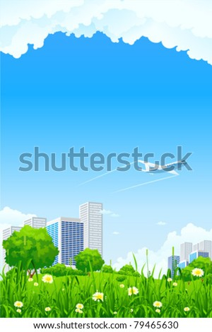 Green city background with flowers grass and clouds - stock vector