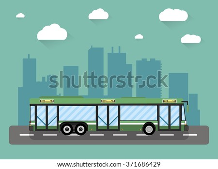 Green city bus in front of city silhouette and sky with clouds, vector illustration in flat design - stock vector