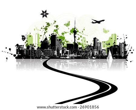 Green city, cityscape background, urban art - stock vector