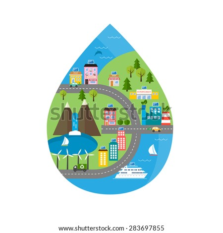 Green city ecology model in the shape of water drop with ecosystem infographics design elements. Icons of green energy, ecology, environment	 - stock vector