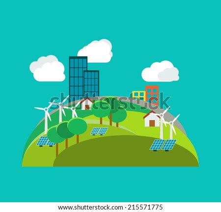 Green city environmental concept, ecology illustration