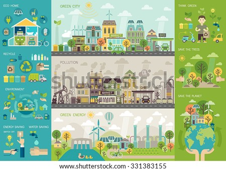 Green city Infographic set with charts and other elements. Vector illustration. - stock vector