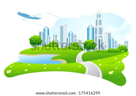 Green City Landscape with Road Lake and Airplane - stock vector