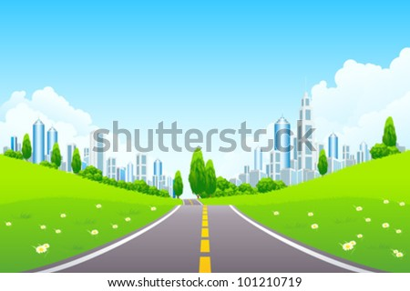 Green City Landscape with Trees Flowers Clouds and Road - stock vector