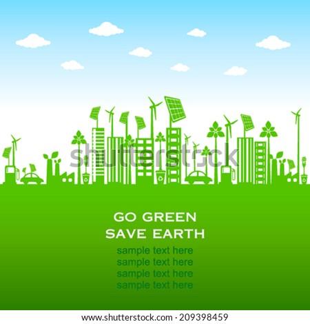 green city or go green or save earth concept  - stock vector