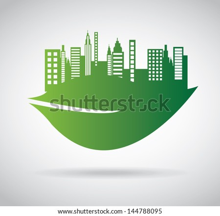 green city over gray background vector illustration - stock vector
