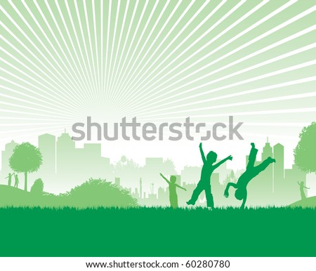 green cityscape children playing - stock vector