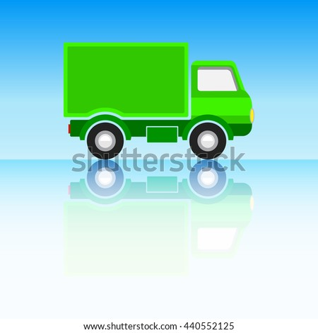 Green Classic Truck on Sky Blue Background