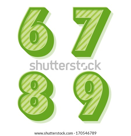 Green clean vector retro 3d striped alphabet and numbers 6,7,8,9