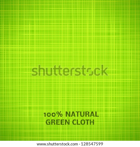 Green cloth texture background. Vector illustration for your fresh natural design. Book cover. Fabric bright ecological canvas wallpaper with delicate striped pattern. - stock vector