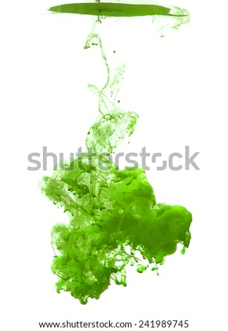 Green cloud of ink swirling in water. Abstract background - stock vector