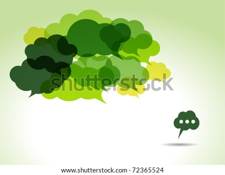 green cloud speech bubbles - stock vector